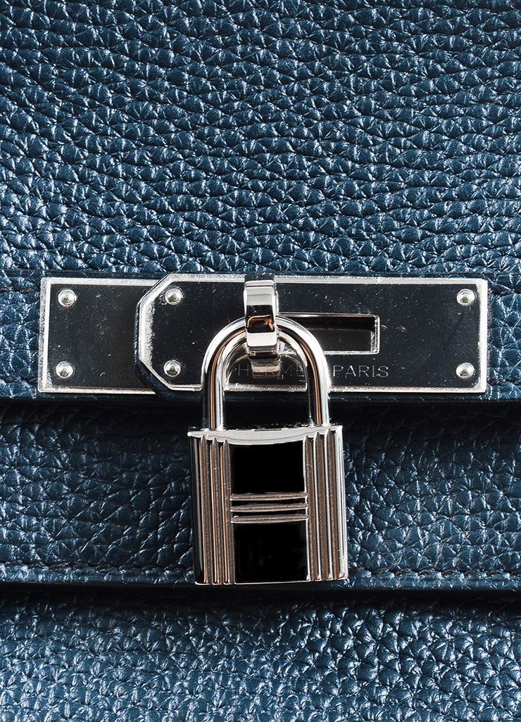 "Hermes Navy Blue Clemence Leather Palladium Hardware ""Birkin"" 40 cm Bag Detail 3"
