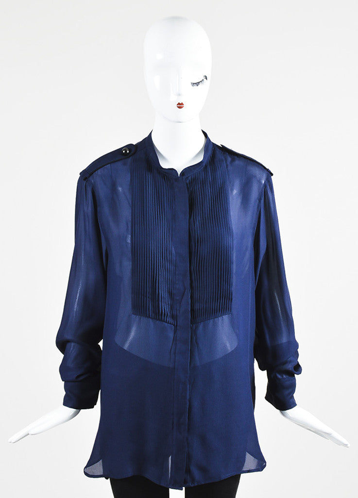 "Blue and Black Isabel Marant Silk Plisse Front Long Sleeve ""Sophia"" Blouse Frontview"