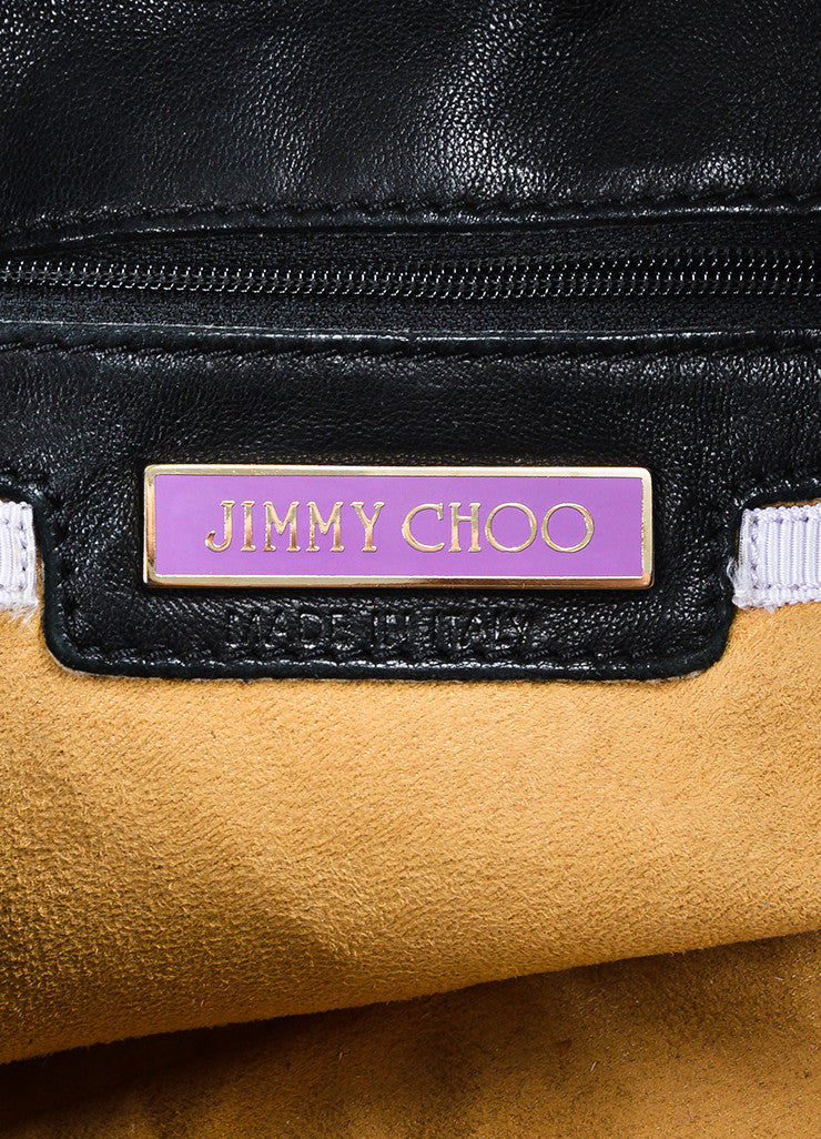 "Jimmy Choo Black Leather Gold Toned Metal ""Elsa"" Tote Bag Brand"