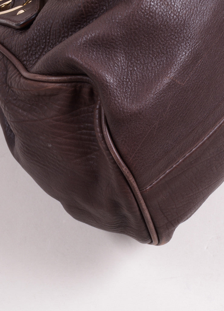 "Jimmy Choo Chocolate Brown Leather ""Ramona"" Belted Grommet Hobo Bag Detail"