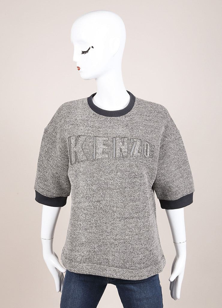 Kenzo New With Tags Grey and White Knit Wool Blend Short Sleeve Sweatshirt Frontview