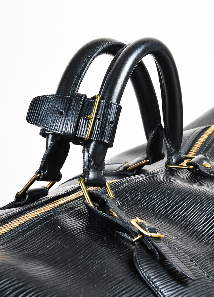 "Louis Vuitton Black Epi Leather ""Keepall 60"" Travel Duffel Bag Detail 2"
