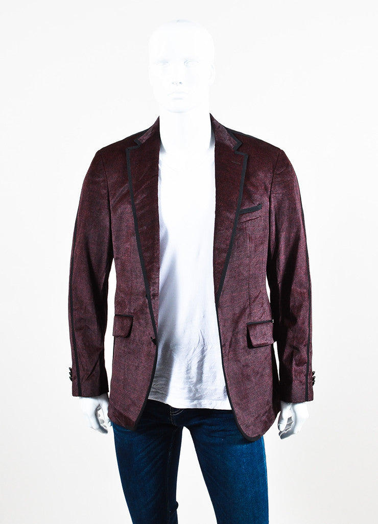 Men's Etro Maroon Black Corduroy Two Button Sport Blazer Jacket Front
