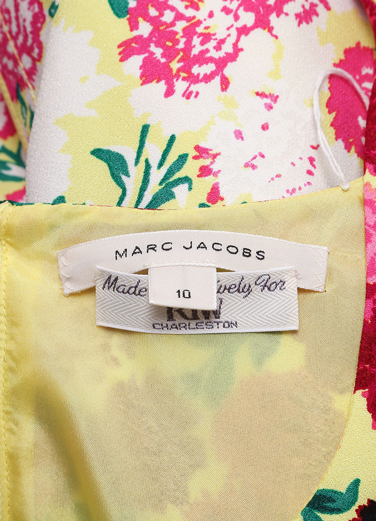 Marc Jacobs New With Tags Pink and Yellow Floral Print Sleeveless Scoop Neck Crepe Dress Brand