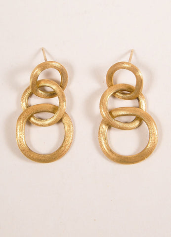 Marco Bicego 18 KT Gold Three Link Drop Earrings Frontview