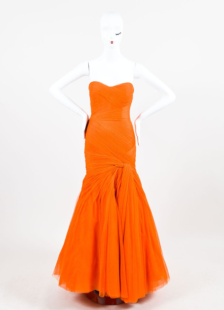 Monique Lhuillier Orange Strapless Mesh Tulle Full Gown Frontview 2