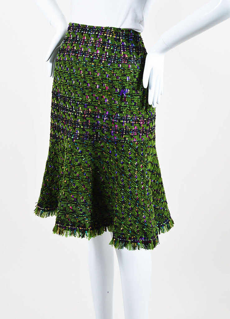 Oscar de la Renta Green, Purple, and Pink Wool Blend Tweed Flared Skirt Sideview