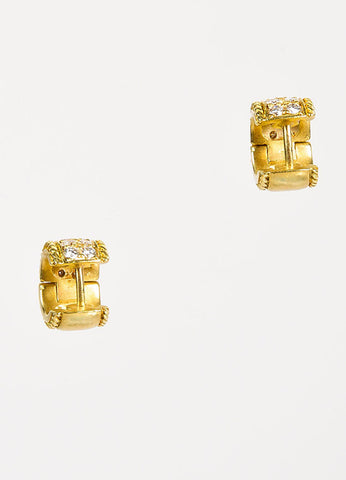 Penny Preville 18K Yellow Gold and Diamond Huggie Hoop Earrings Backview