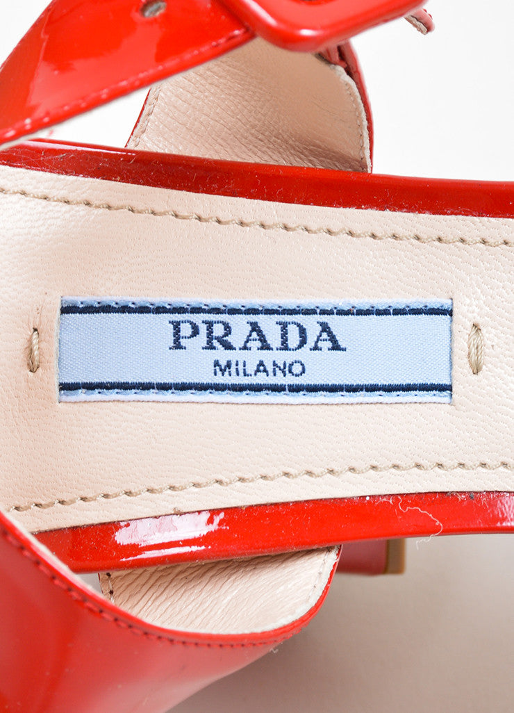 Red Prada Patent Leather Strappy Chunky Heel Sandals Brand