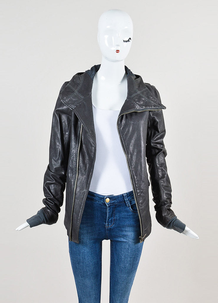 Rick Owens Grey Leather Hooded Moto Jacket Frontview
