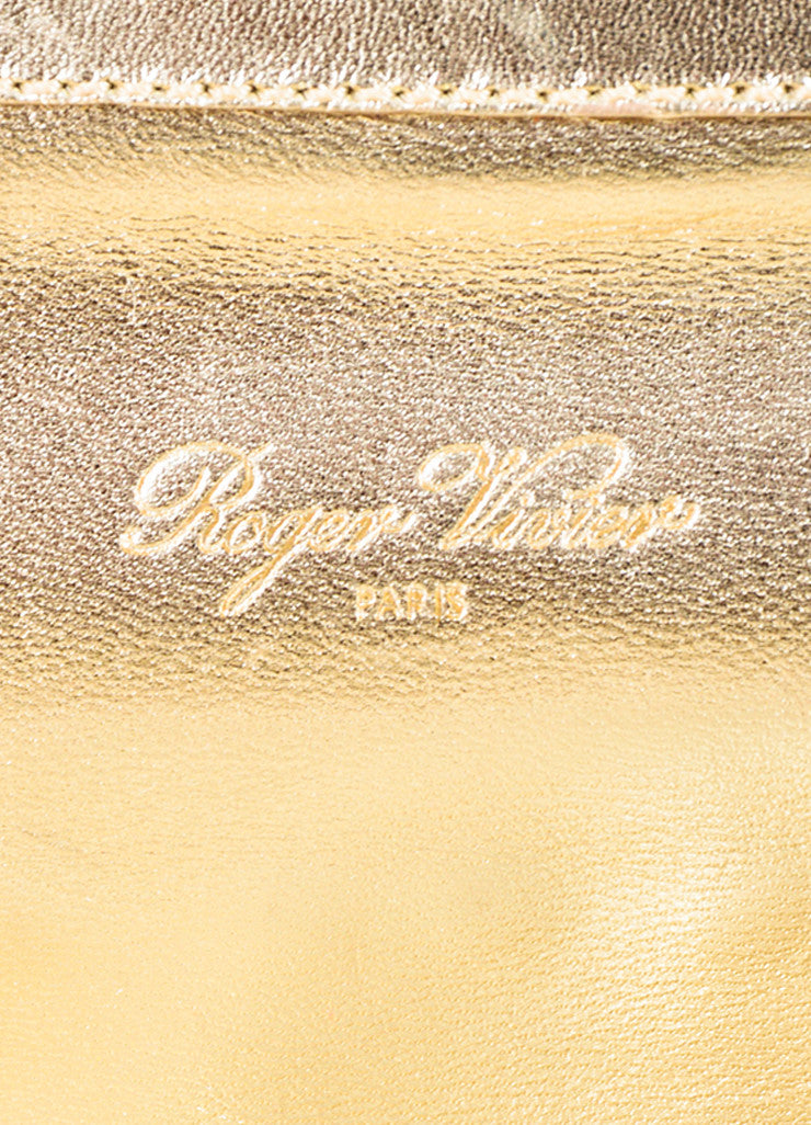 "Roger Vivier Metallic Gold and Cream Leather Studded ""Swiss Chocolate"" Clutch Bag Brand"