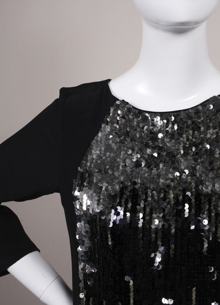 Schumacher New With Tags Black and Grey Sequin Embellished Shift Dress Detail