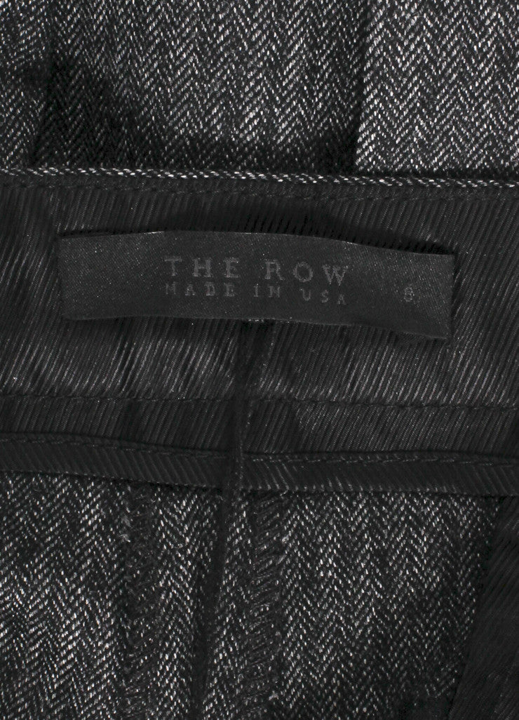 "The Row New With Tags Charcoal Grey Herringbone Wool ""Inoma"" Ankle Trousers Brand"