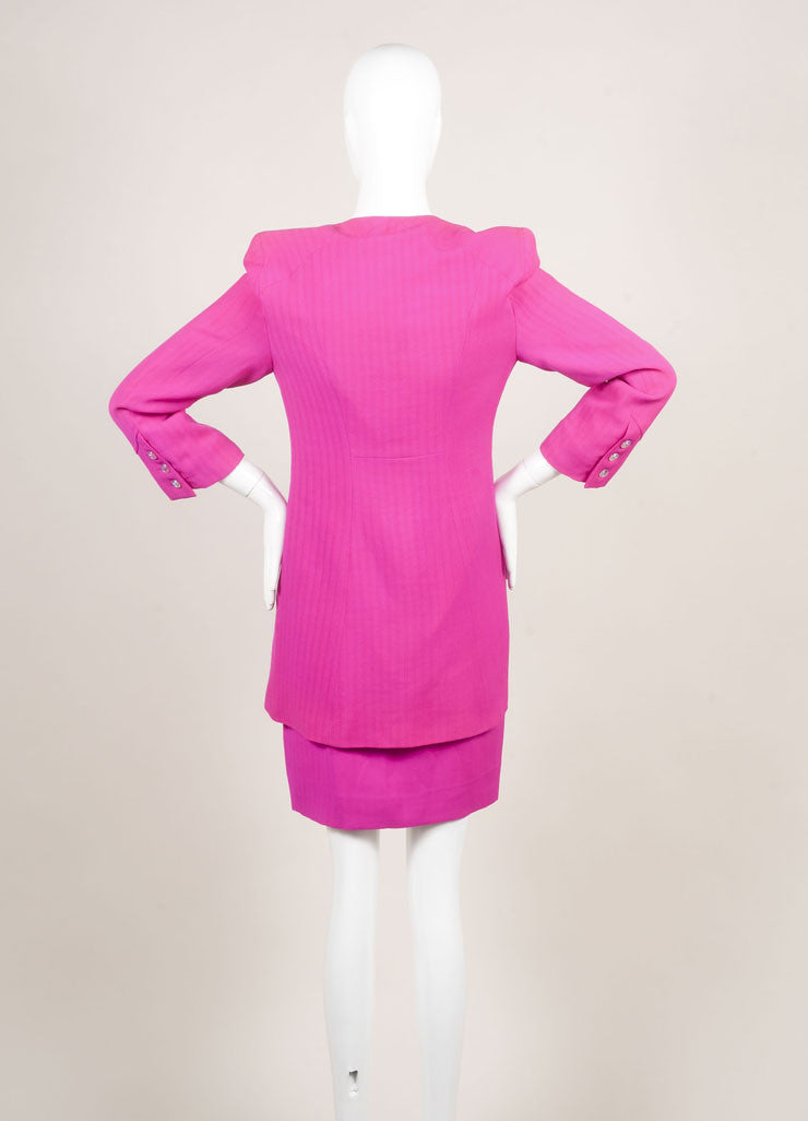 Bazar by Christian Lacroix Hot Pink Wool Jacket and Skirt Suit Backview