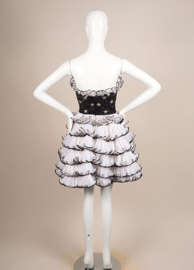 Bob Mackie Black and Cream Beaded Pleated Ruffle Strapless Cocktail Dress Backview