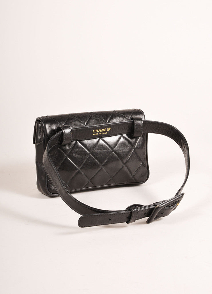 "Chanel Black and Gold Toned ""CC"" Turnlock Quilted Leather Belt Bag Backview"