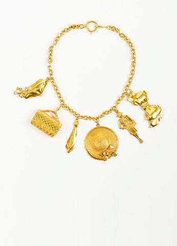 Gold Toned Chanel Oversized Charm Statement Necklace Frontview