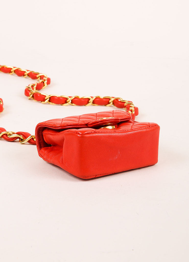 Chanel Red Mini Lambskin Flap Bag Belt Bag Bottom View