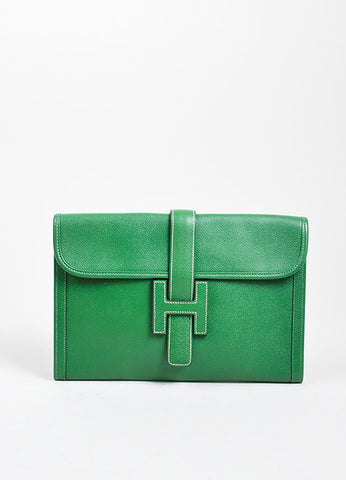"Green Hermes Pebbled Leather ""Jige"" 'H' Envelope Clutch Bag Frontview"