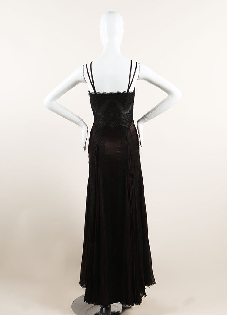 Versace Brown and Black Silk Lace Pleated Sleeveless Gown Backview