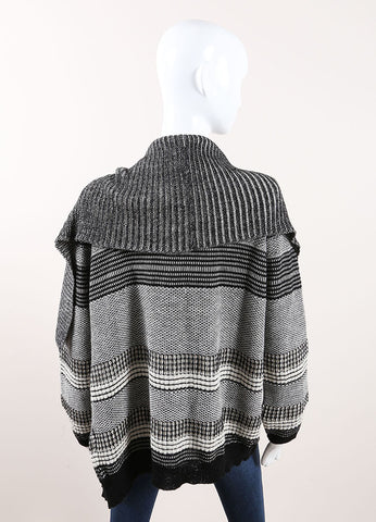 Yigal Azrouel Black and Cream Graphic Jacquard Knit Drape Cardigan Backview