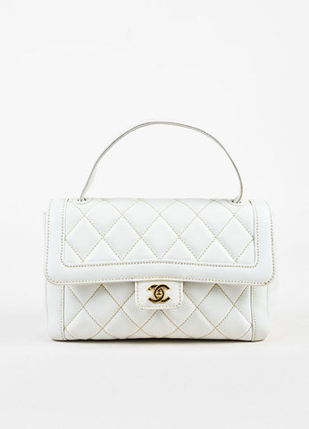 "Chanel ""Wild Stitch"" White Leather Quilted Top Handle Satchel Bag Frontview"