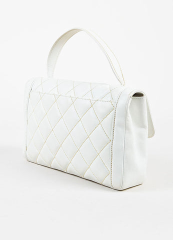 "Chanel ""Wild Stitch"" White Leather Quilted Top Handle Satchel Bag Sideview"