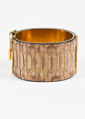 "Celine Black, Brown, and Gold Toned Snakeskin Resin Metal ""Manchette Edge"" Cuff Frontview"