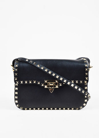 Valentino Garavani Black and Silver Leather Studded Crossbody Flap Bag Frontview