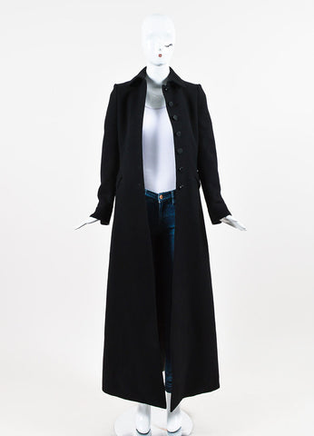 Alaia Black Wool Paneled Single Breasted Trench Coat Frontview