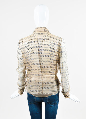 Chanel Beige and Black Sheer Silk Chiffon Chain Logo Stripe Print Shirt Blouse Backview