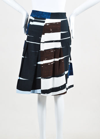 Akris Punto Navy Blue, White, and Brown Printed Pleated A-Line Skirt Frontview