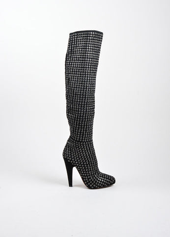 Black Suede Silver Tone Rivet Knee High Almond Toe Boots Sideview
