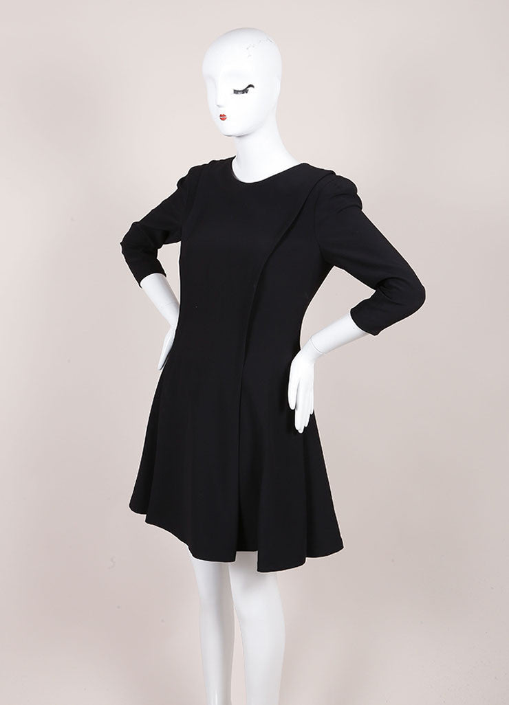 Alexander McQueen Black Cropped Sleeve Skater Dress Sideview
