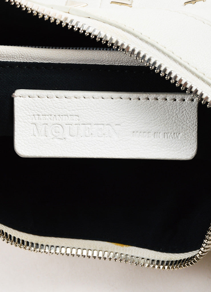 "Alexander McQueen White Leather Triangle Studded ""De Manta"" Clutch Bag Brand"