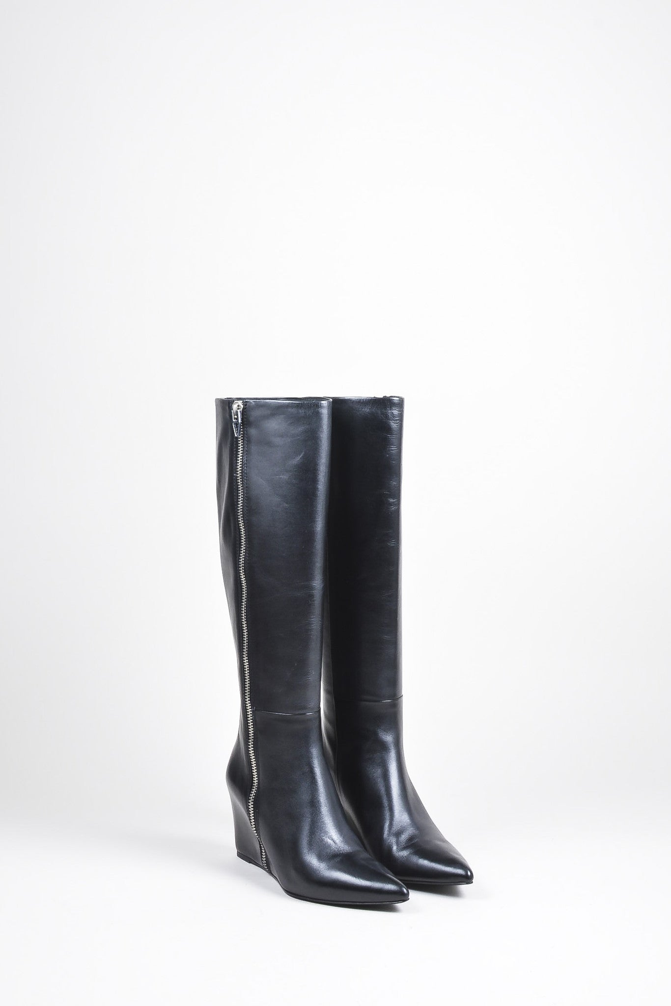 "Alexander Wang Black and Silver Leather Zip ""Lea"" Wedge Boots Frontview"