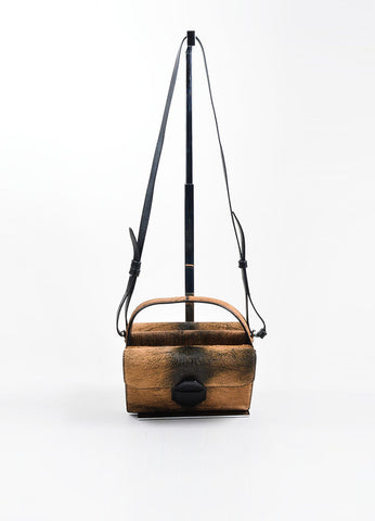 "Black and Brown Beaver Fur Alexander Wang ""Racketeer"" Crossbody Bag Frontview"