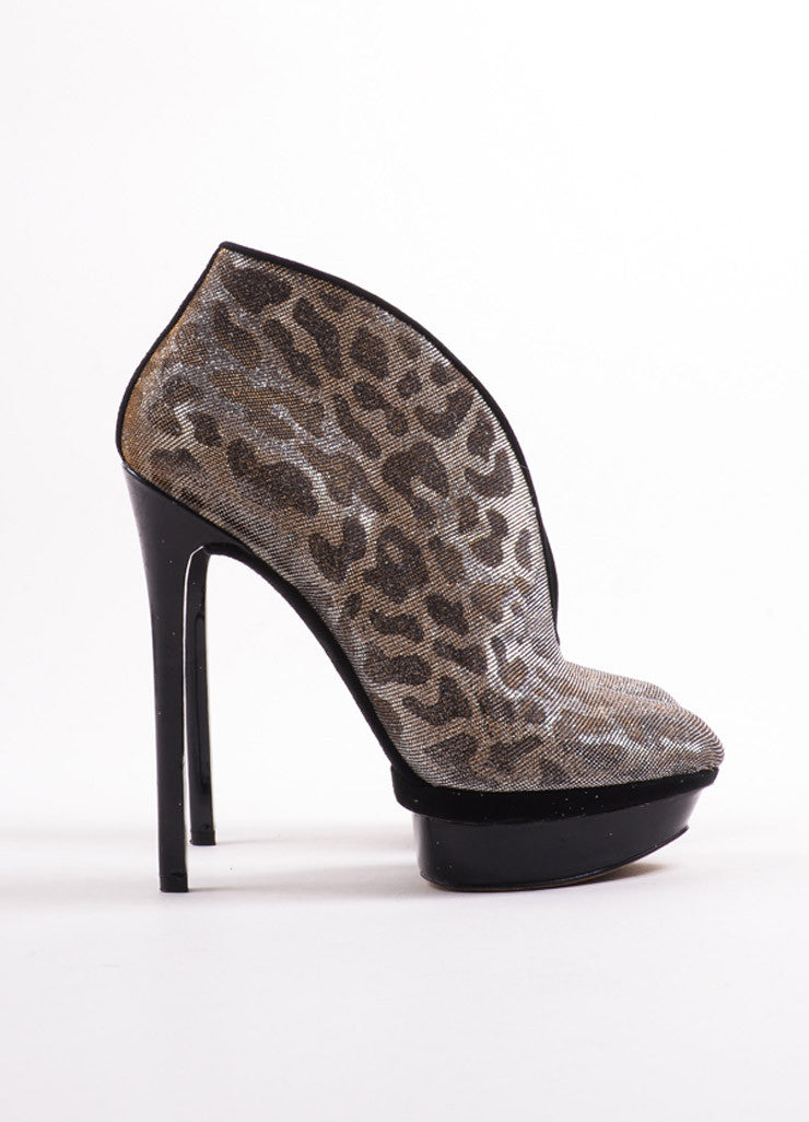 "B Brian Atwood Gold and Silver Glitter Leopard ""Fortosa"" Booties Sideview"