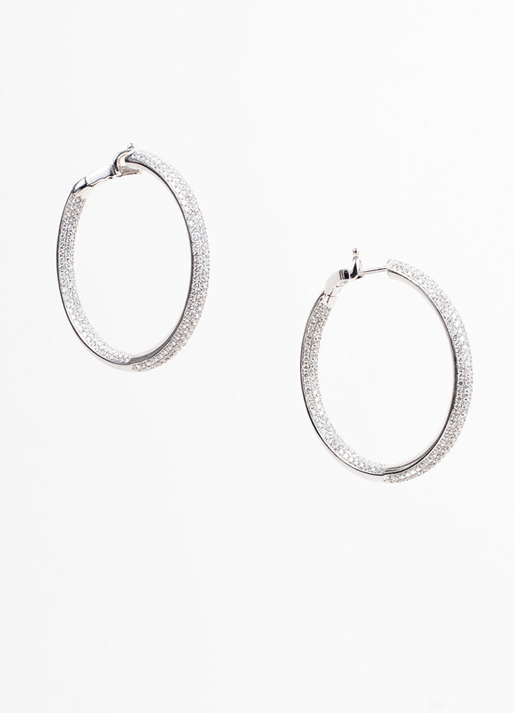 Bessa By Comex 18K White Gold Round Cut Pave Diamond Hoop Earrings