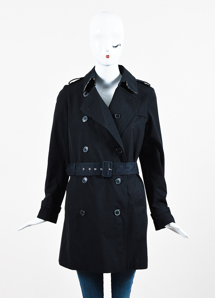Burberry London Black Cotton Blend Belted Double Breasted Trench Coat Frontview