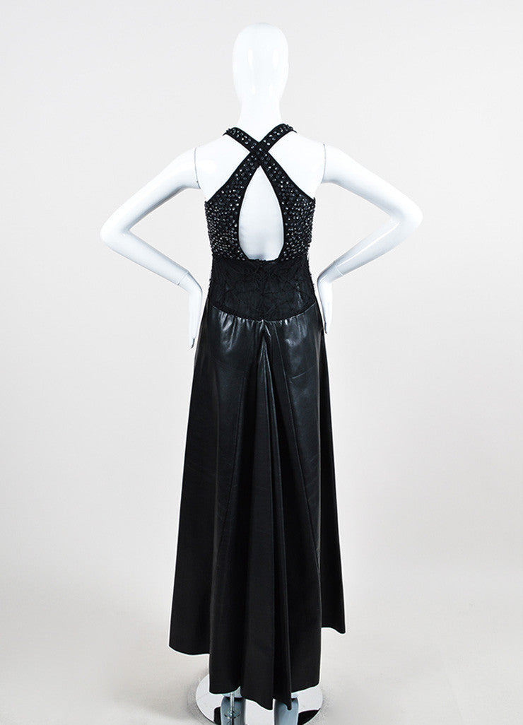 Black Mesh Leather Strappy Rhinestone Embellished Sleeveless Dress Gown Backview