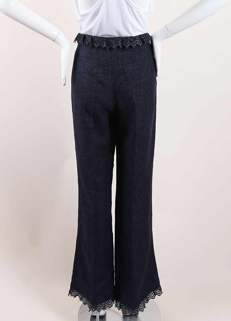 Chanel Dark Blue Linen High Waisted Lace Trim Flared Pants Backview
