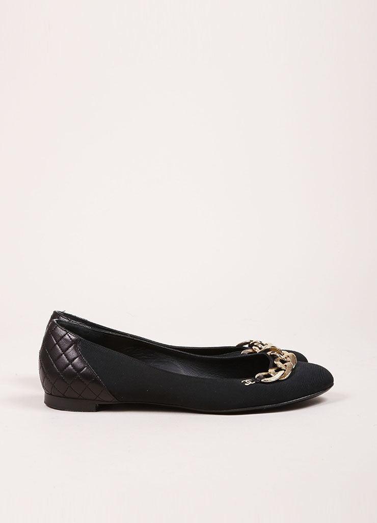 "Chanel Black and Gold Toned Chain ""CC"" Detail Flats Sideview"