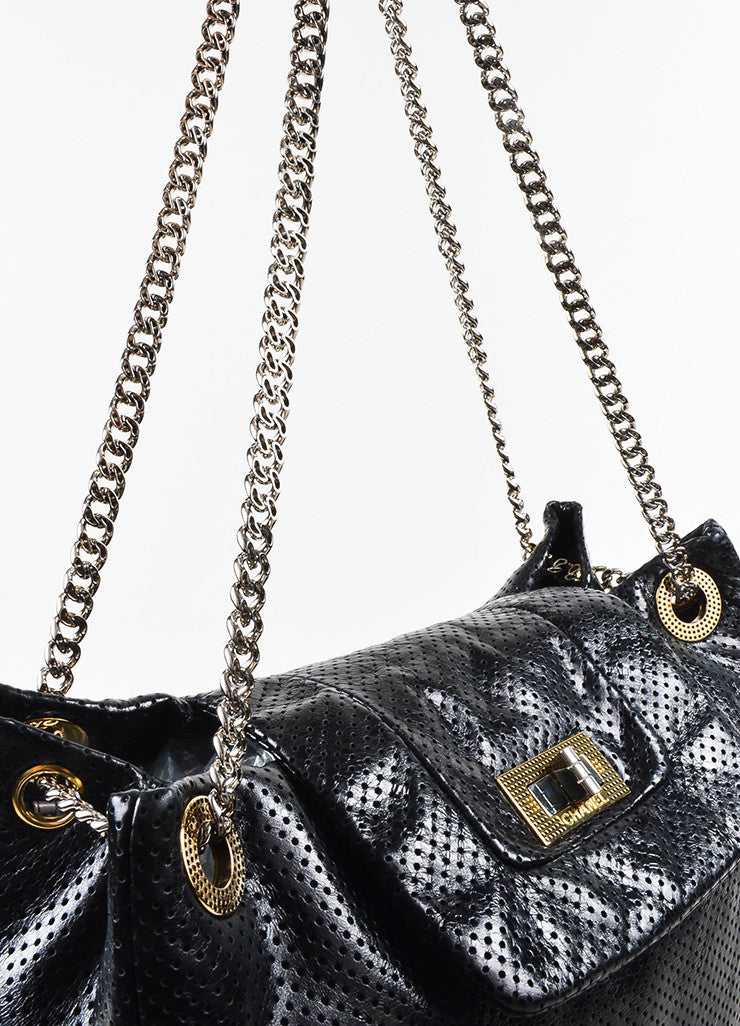 Black Chanel Perforated Leather Chain Strap Flap Tote Bag Detail 3