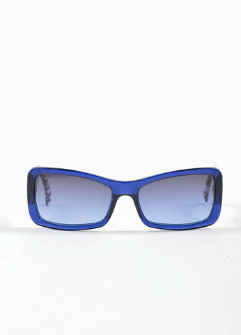 Blue and Clear Chanel Cracked Print Square Gray Ombre Lens Sunglasses Frontview