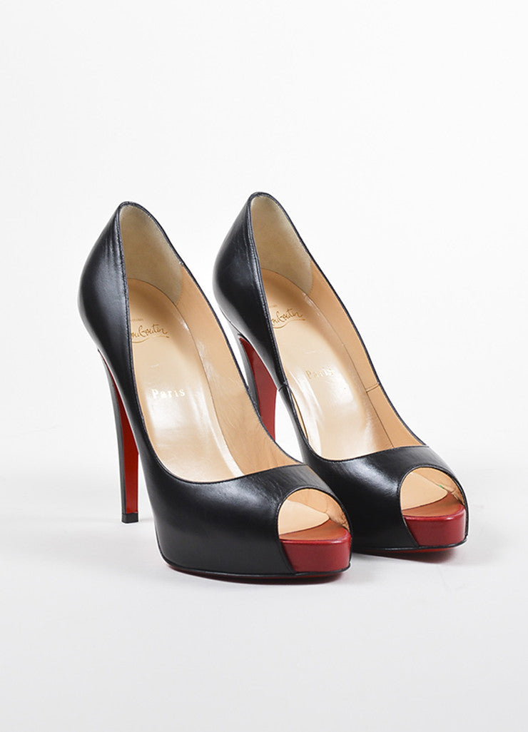 "Christian Louboutin Black and Red Leather Peep Toe ""Very Prive 120"" Pumps Frontview"