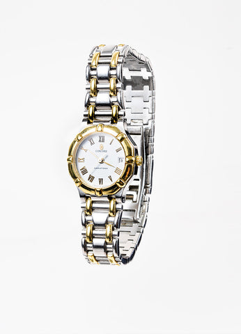 "Concord Stainless Steel and 18K Yellow Gold ""Saratoga"" Two Tone Bracelet Watch Sideview"