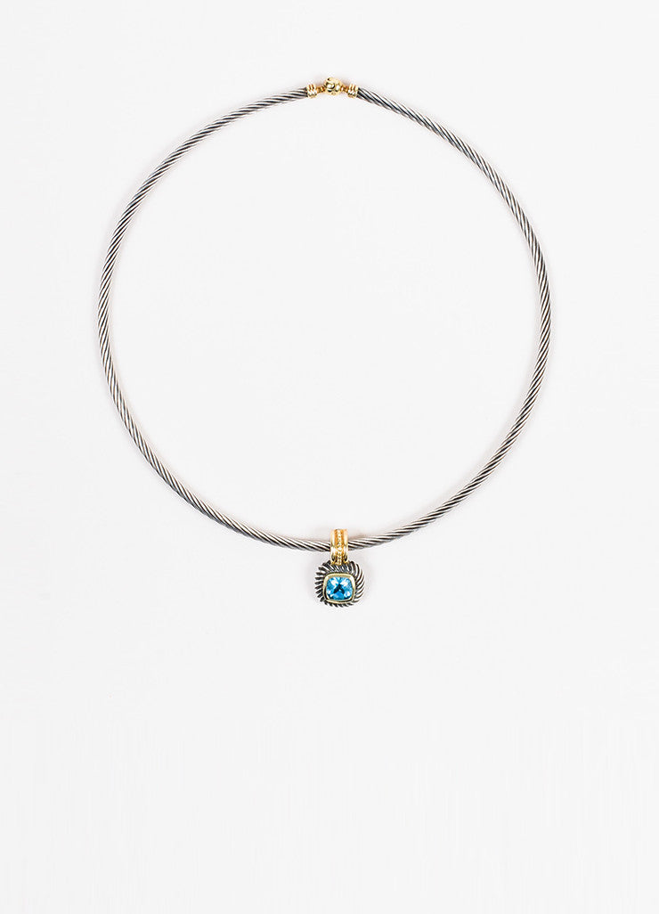 David Yurman Sterling Silver, Gold, and Blue Topaz Cable Collar Albion Necklace Frontview
