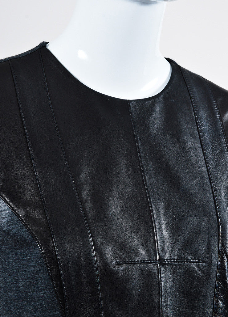Black and Grey Derek Lam Leather Knit Paneled Top Detail