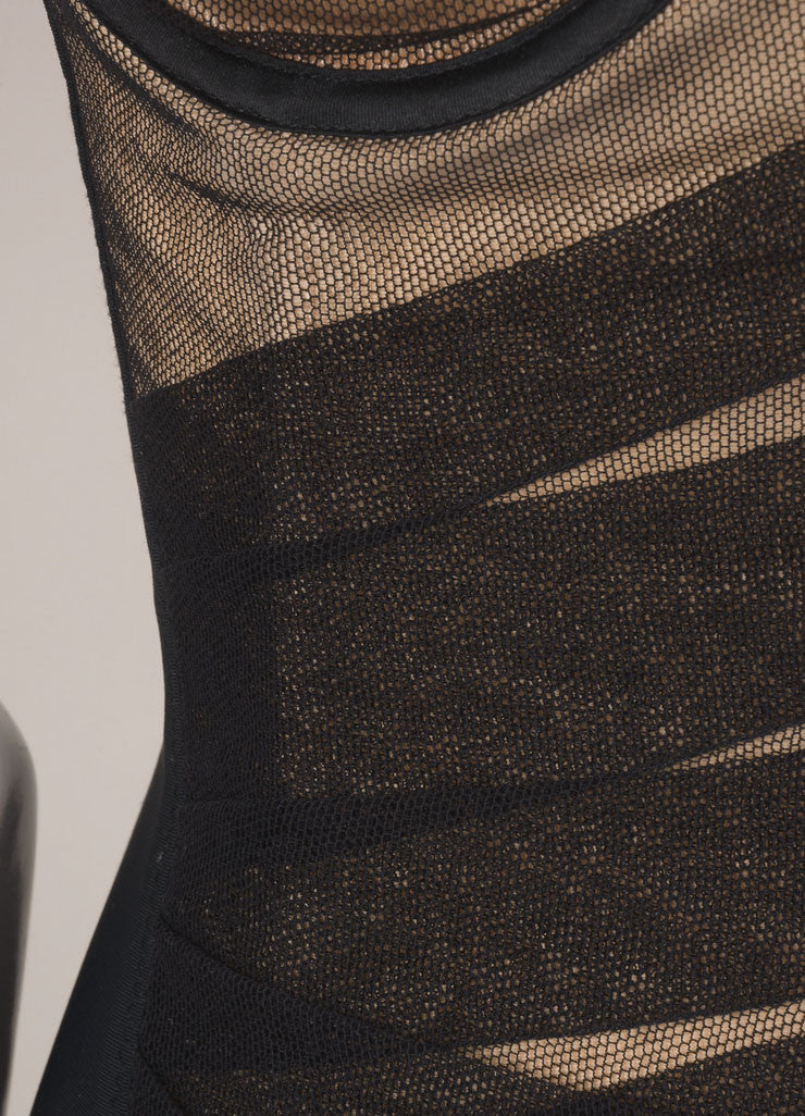 Dolce & Gabbana Black and Nude Tulle and Spandex Spaghetti Strap Bustier Dress Detail